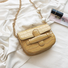 Stone Pattern Small Crossbody Bags With Pearl Shoulder Belt Lady Chain Saddle