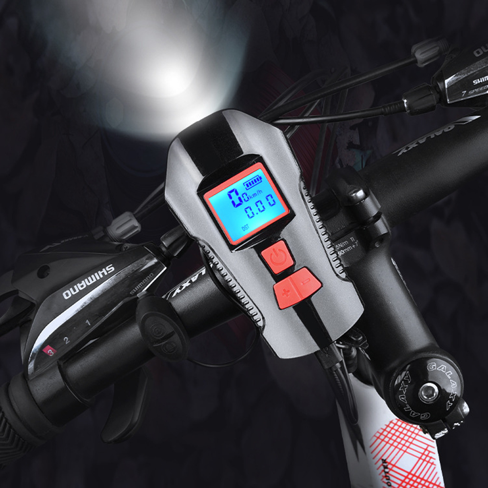 USB Charge Bycicle LED Light Electric Horn Headlight Handlebar Flashlight  TR
