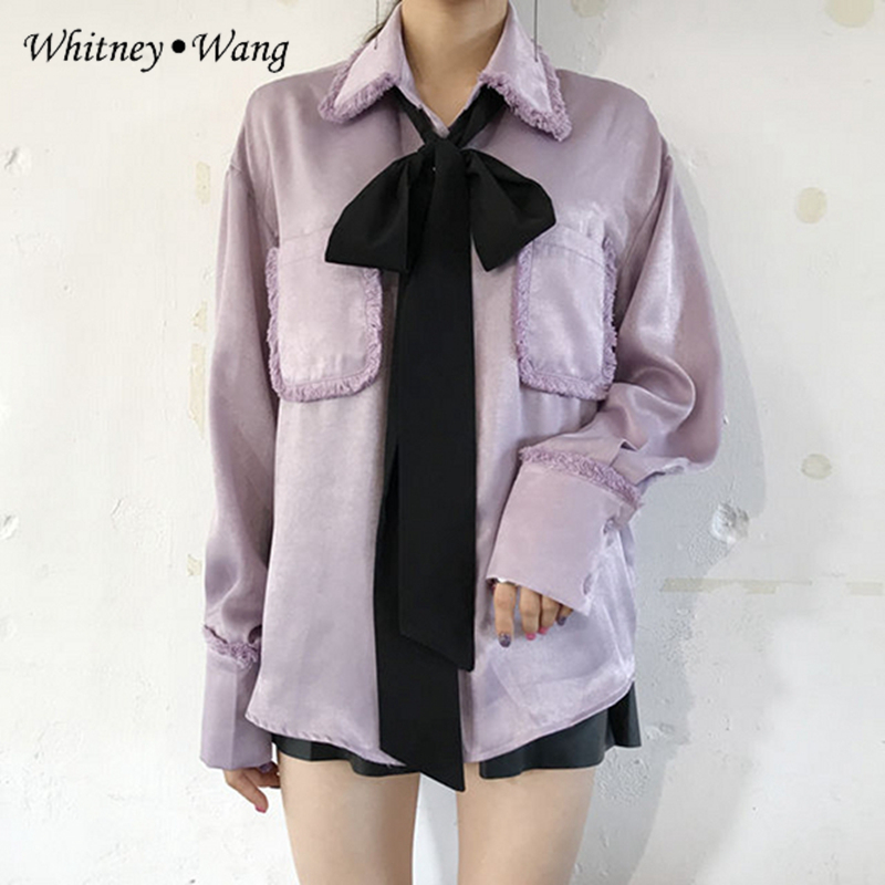 Whitney Wang 2019 Spring Autumn Fashion Streetwear Vintage Style Chinese Skew Buttons Striped Blouse Women Blusas Shirt Tops Women's Clothing