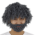 Mad Scientist Rasta Caveman Handmade Wig Beard Hobo Hats Knit Warm Winter Caps Men Women Halloween Funny Party Mask Beanies W1