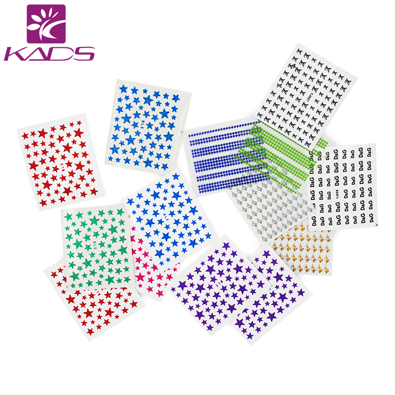 KADS Hot Selling 35pcs/set Colorful Stars Design 3D Nail Art Water Decals Manicure Nail Art Decoration Transfer Stickers Tools 24pcs lot 3d nail stickers decal beauty summer styles design nail art charms manicure bronzing vintage decals decorations tools