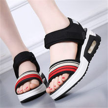 Gladiators Women Sport Sandals Flat Platform Cotton Nylon Beach Summer Shoes Holiday Travel Walking Comfortable Creepers