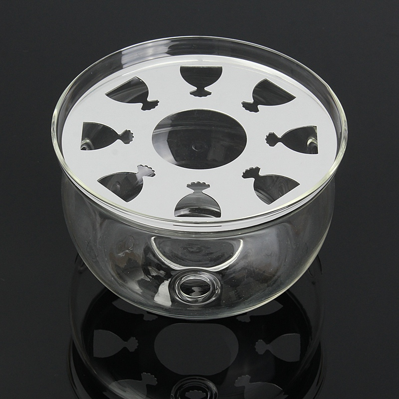 Round Clear Glass Heat Resisting Teapot Warmer Insulation Base Candle Holder Heating