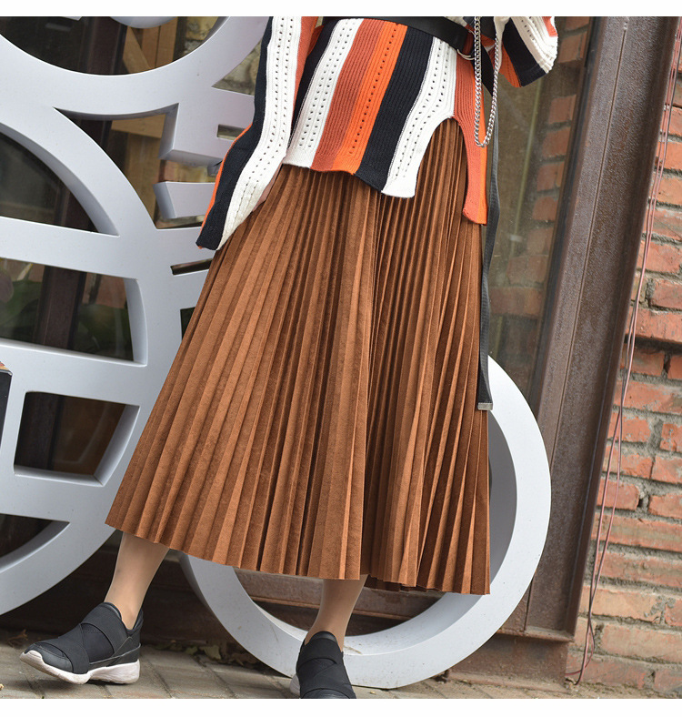19 Two Layer Autumn Winter Women Suede Skirt Long Pleated Skirts Womens Saias Midi Faldas Vintage Women Midi Skirt 47