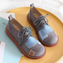 Women Sneakers Flats-Shoes Moccasins Spring Oxford Lace-Up Suede Round