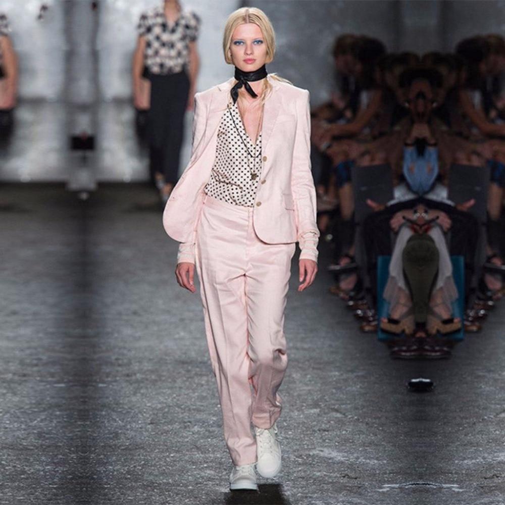 2 Stücke Rosa Sets Frauen Anzüge Formalen Ol Damen Elegante Hose Anzüge Langarm Weibliche Büroarbeitskleidung Nach Maß W95 Professionelles Design