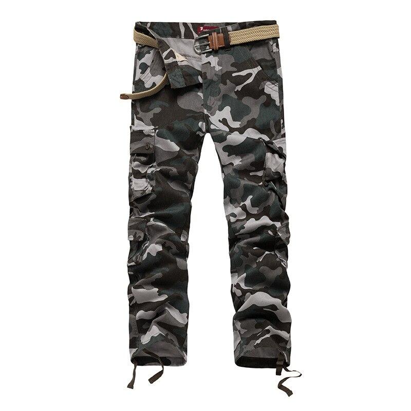 Для мужчин камуфляж Safari Стиль армии Брюки для девочек свободные хлопковые Материал мульти-карманы на талии брюки-карго мешковатые Тактичес...