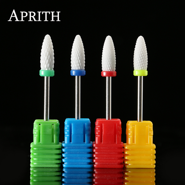 APRITH 1pc Mill Cutter Ceramic Nail Drill Bit For Electric Manicure Machines Pedicure Nail Art Salon Polish Tools Nail Files