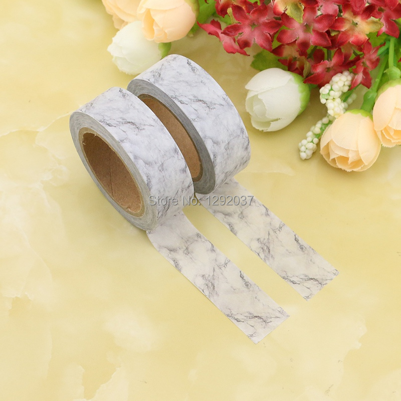 2PCS/lot Delicate White Marble Decorative Washi Tapes Paper For DIY Scrapbooking Adhesive Tapes 15mmx10m School Supply Wholesale