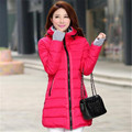 2016 Latest Fashion Women Winter Coat Super Warm Cotton Down jacket Elegant Pure color Hooded thick Big yards Women Coat G0062