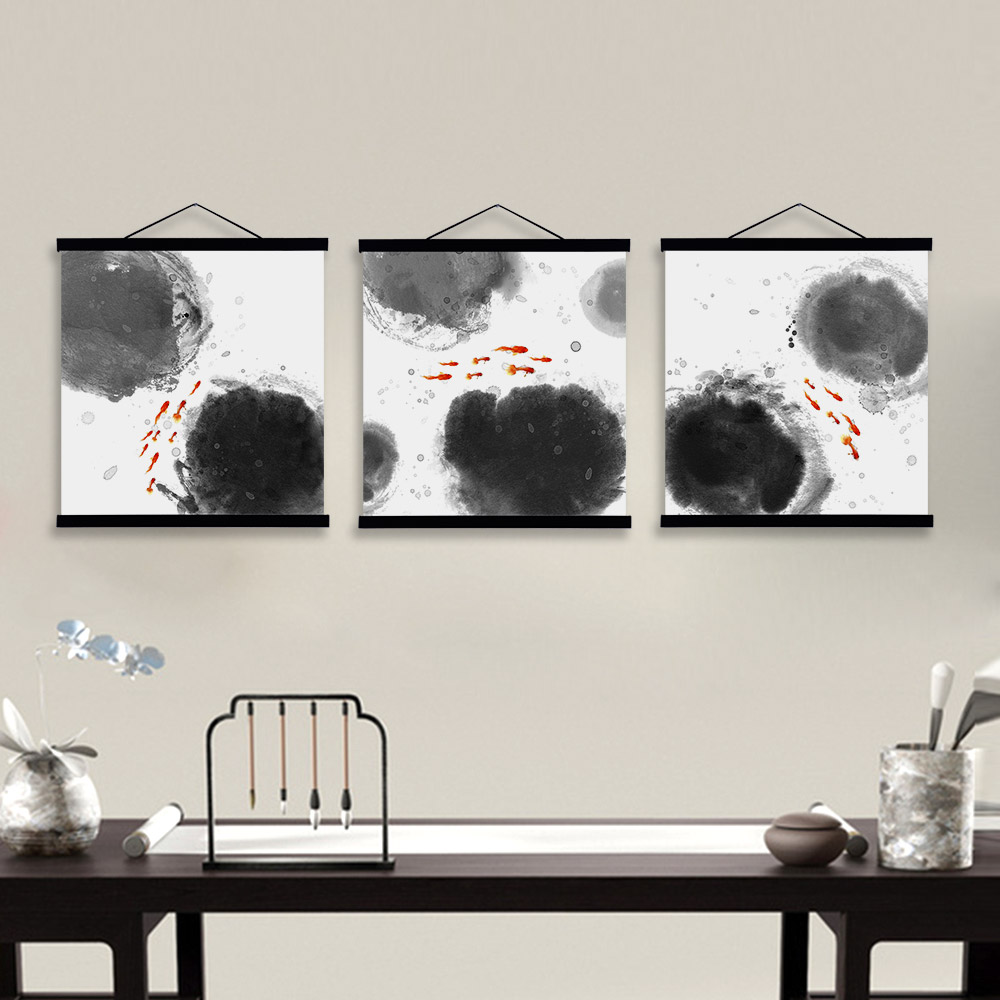 Oriental modern black white chinese ink calligraphy fish for Modern home decor paintings