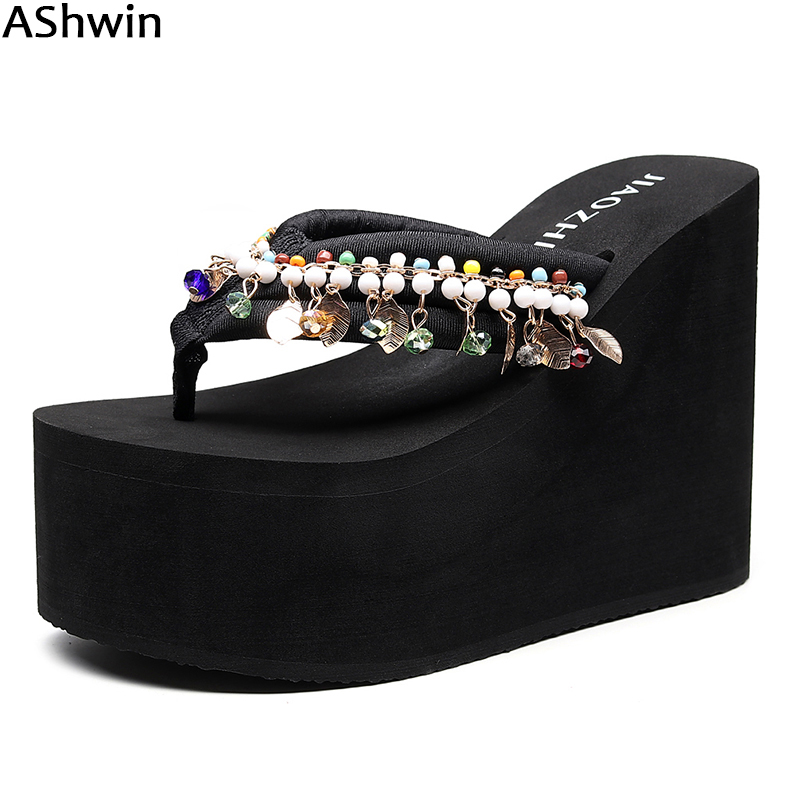 Women Sandals Wege Shoes Slippers Platform Flip-Flops High-Heels Bohemia Fashion Ashwin