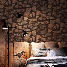 Deep Embossed 3D Stone Paper Modern Vintage Brick Stone Pattern Paper Wallpaper Roll For living room Wall covering Decor