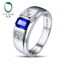 18k Gold 1.25ct Sapphire & 0.43ct Natural Princess Diamond Engagement Ring Fine Jewelry