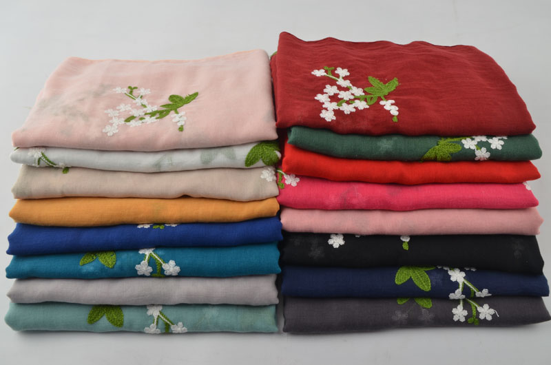 Plain Embroidered Floral cotton Scarf New pashmina from Indian Foulards Sjaal Muslim hijab shawls and scarves