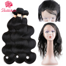 Beauhair 360 Lace Frontal with Bundle Brazilian Body Wave Human Hair Weave 3 Bundles Pre Plucked Frontal Closure Products