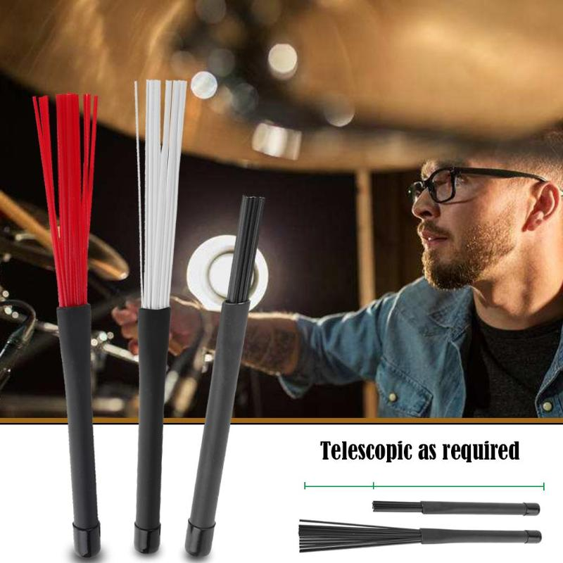 2pcs/set Nylon Jazz Drum Brushes 23cm Drum Sticks Percussion Drumsticks With Rubber Handles Musical Accessories