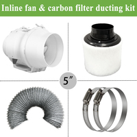5 Inline duct Fan ducted ventilator& Carbon Air Filter&Ducting for Complete Grow Tent Kits Plant Growing 125mm