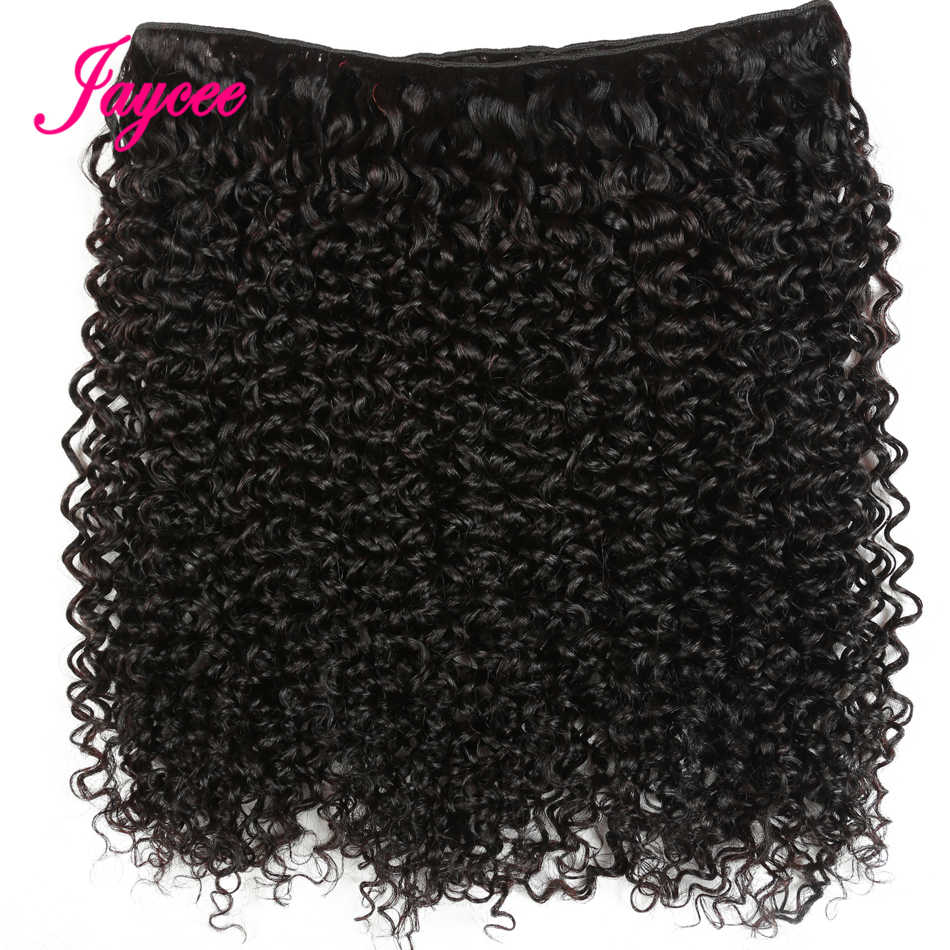 Jaycee Afro Kinky kıvırcık saç 1/ 3 / 4 demetleri anlaşma ham hint saç demetleri insan saçı örgüsü uzatma doğal renk 100G Remy