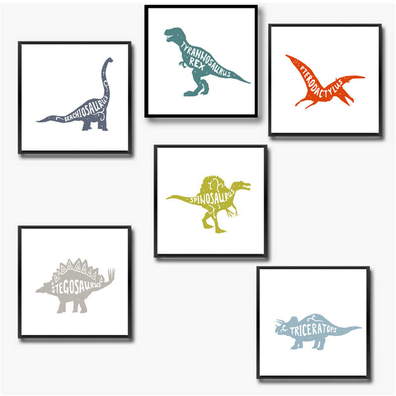 Dinosaur Decor Canvas Painting Boy Room Wall Art Picture , Dinosaur Canvas Print and Poster Boy Nursery Art Decorations