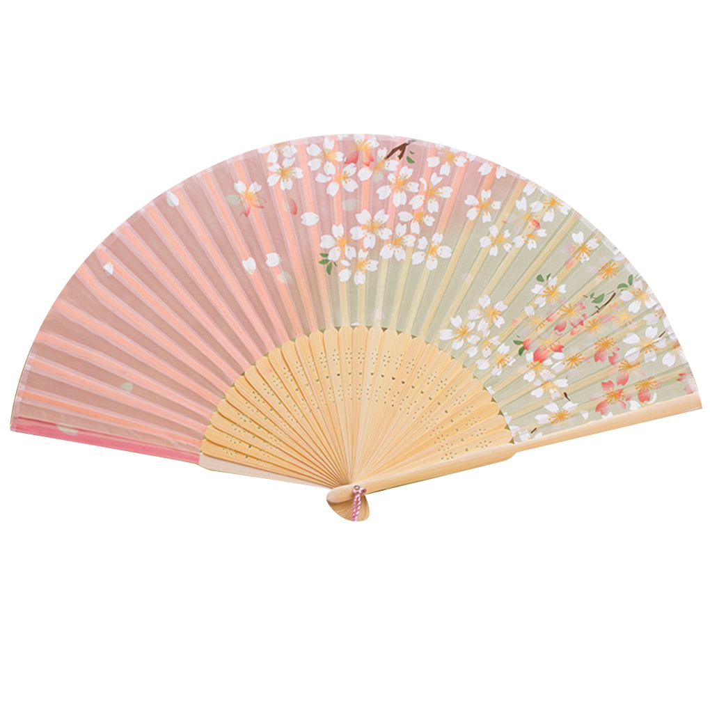 Chinese Style Women Bamboo Frame Silk Fans Butterfly Cherry Floral ...