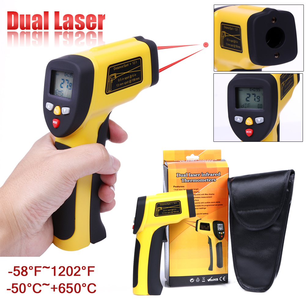 Digital Dual Laser Infrared Thermometer Non-contact IR High Temperature Gun Tester Pyrometer Large Clear LCD with Backlight digital infrared ir thermometer laser temperature gun non contact 50 1 with lcd backlight gm1350 18 1350c 50 1