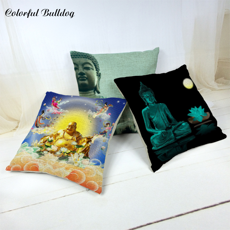 New Image Thai Ganesha Lotus Cushion Cover Lotus Leaf Pillow Case Car Seat Living Room Decor 45*45cm Without Inner Home Almofada