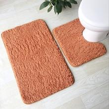 Soft Lamb Plush Bathroom Mat 2 pcs/set Toilet 4 Solid Colors Rug Household Feet Pad Super Bath
