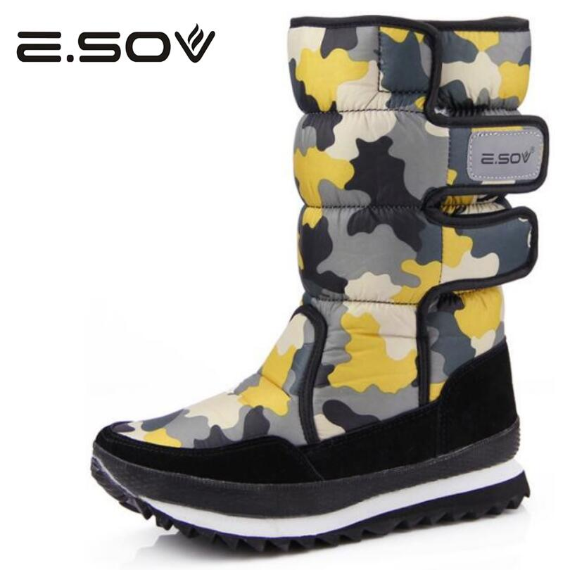 Esov Women Boots 2017 Winter Waterproof Camouflage Print Thick Fur Cotton Woman Snow Boots Platform Mid-Calf Boot Shoes Woman
