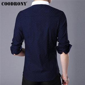 Image 3 - COODRONY מותג גברים חולצה סתיו חדש הגעה ארוך שרוול כותנה חולצה גברים Streetwear אופנה נקודה קטן צווארון מקרית חולצות 96020