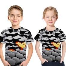цены Children Short Sleeve Clothes Boy 3D T-Shirt Cartoon Plaid Print Crew Neck Casual Fashion Baby Girl Tops a summer story t shirt