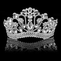 Silver Crystal Rhinestone Royal Princess Wedding Bridal Pageant Prom Tiara Crown Girl Women Tiaras Crowns With Hair Clip