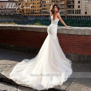 Image 2 - Ashley Carol vestido de boda sirena de encaje 2020 romántico vestido de novia encantador sin mangas apliques vestido de novia con la espalda descubierta