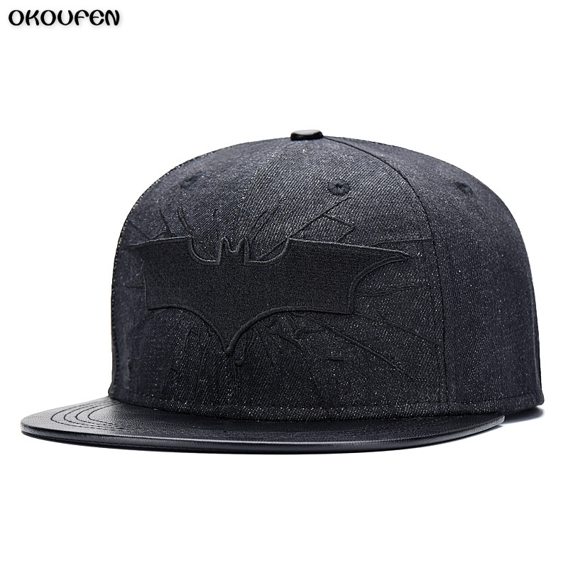 Hot 2018 New Fashion Denim leather Batman Baseball Cap Hats For Men Women Casual Bone Hip Hop Snapback Caps Sun Hat MZ1 washed denim baseball cap snapback hats autumn summer hat for men women caps casual hip hop cap printing gorras snapback hats