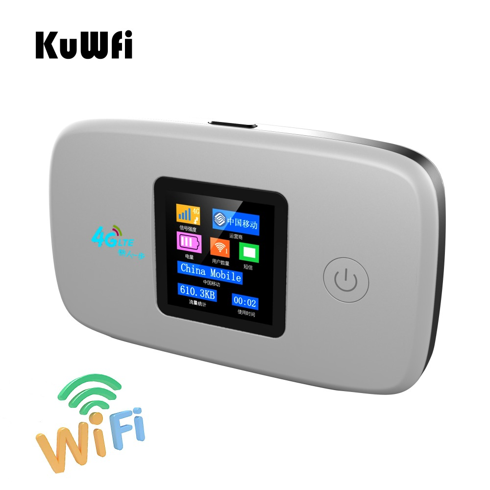 KuWFi Unlocked Car 4G Wireless Router 150Mbps 4G Modem Hotspot Pocket Router With Sim Card Solt Wi-fi Router Up To 10 Wifi Users hame a5 3g wi fi ieee802 11b g n 150mbps router hotspot black