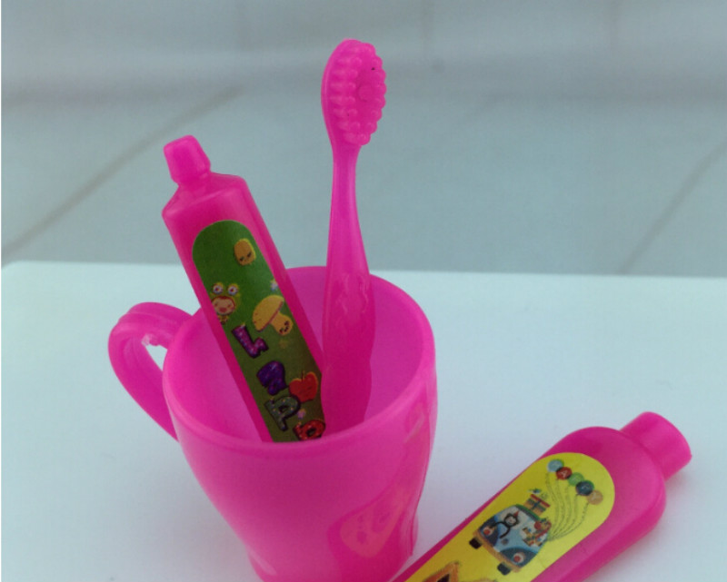 4 pieces set rose fuchsia toothpaste tube toothbrush bathroom accessories for barbie girls gifts wholesale