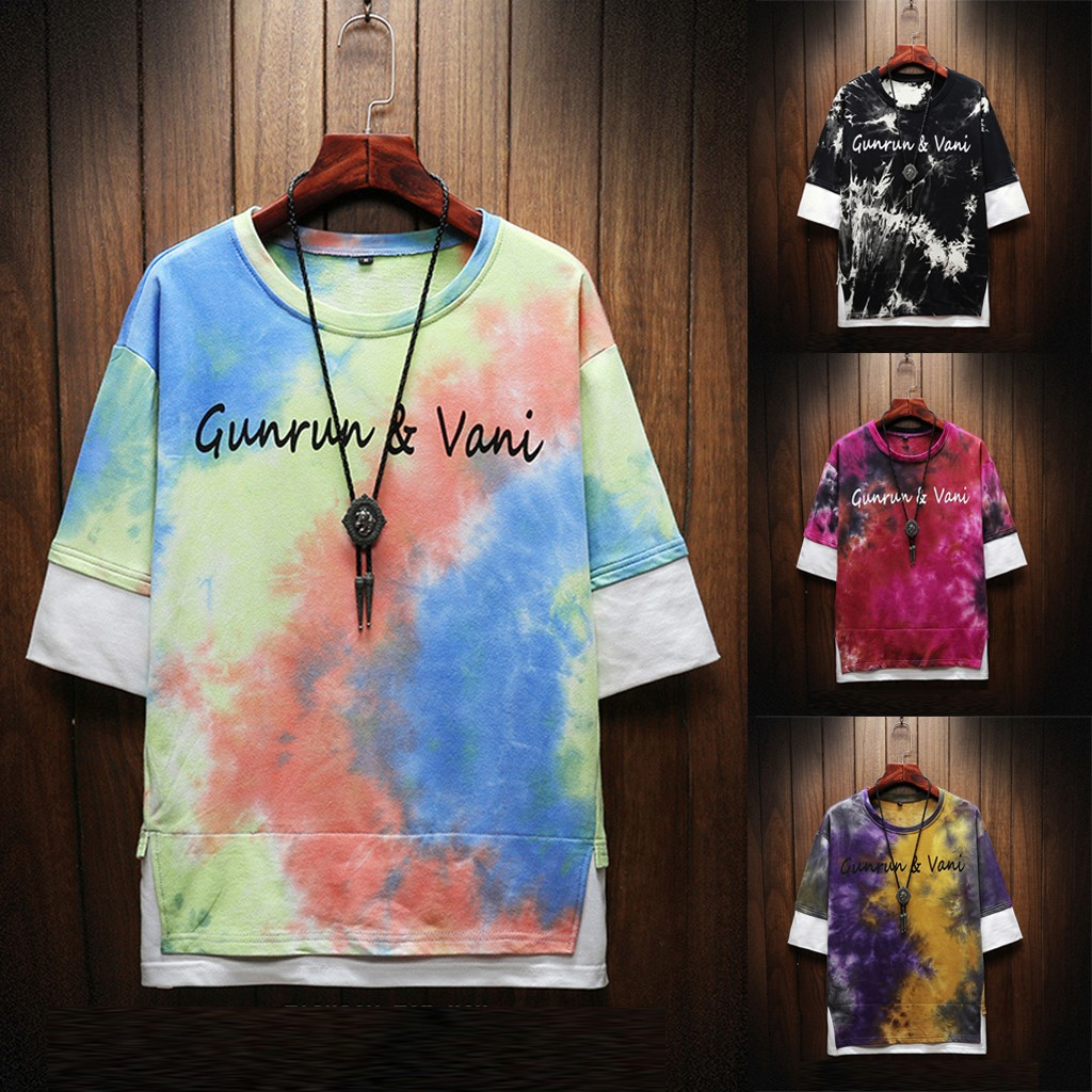 Mens Summer Fashion Printed Tie-Dyed Fake Two Blouse Comfortable Top