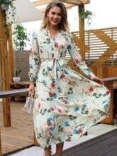 купить!  Платье с цветочным принтом 2019 Женская мода Осень Новый женский европейский и американский празднич �