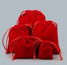 pkq drawstring red velvet valentines bags 5x7cm9x11cm
