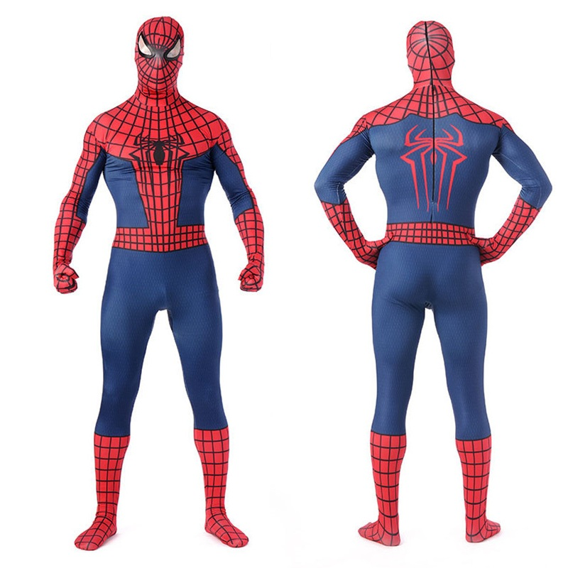 High Quality Lycra Mens 3D Print Spiderman Costumes Adult Male Spandex Zentai Bodysuits Men Superhero Cosplay Costume Suit S-3XL