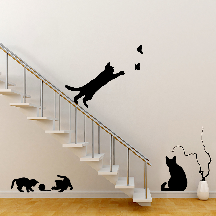 Cats playing wall sticker - Stickers para decorar paredes ...