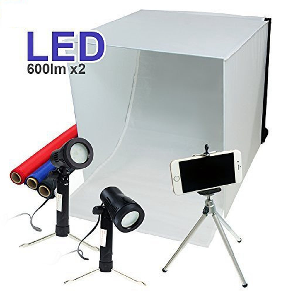 24 folding photo box tent led light table top photography. Black Bedroom Furniture Sets. Home Design Ideas