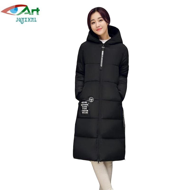 JQNZHNL 2017 New Winter Women Cotton Coats Outerwear Fashion Warm Hooded Thicken Jackets Long Zipper Slim Down Cotton Coats E274