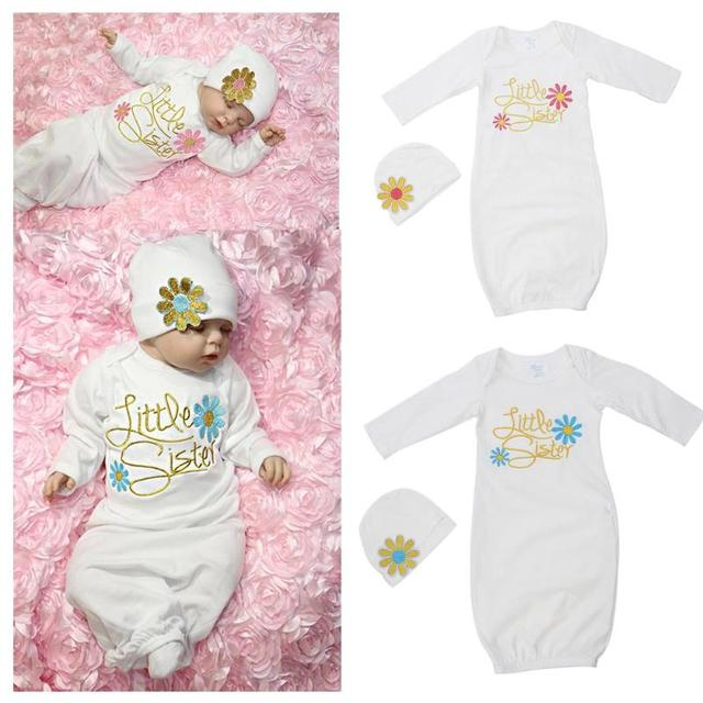 Aliexpress.com : Buy 2pcs/Set Baby Girls Sleep Gowns+Hat Clothes ...
