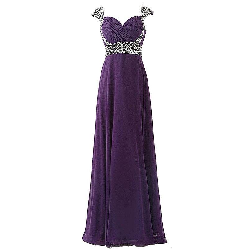 Purple Chiffon Long Bridesmaid Dress A Line Robe Demoiselle D'honneur Fille Elegant V Neck Wedding Party Guest Formal Gowns