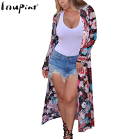 INUPIAT Sweet Long Trench For Woman 2017 New Floral Print Open Stitch Breathable Lighted Material Full