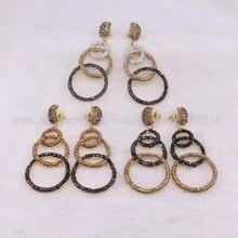 5 Pairs dangle oorbellen dubbele cirkel oorbel Pave kralen groothandel sieraden oorbellen cadeau voor vrouwen groothandel oorbellen 3250