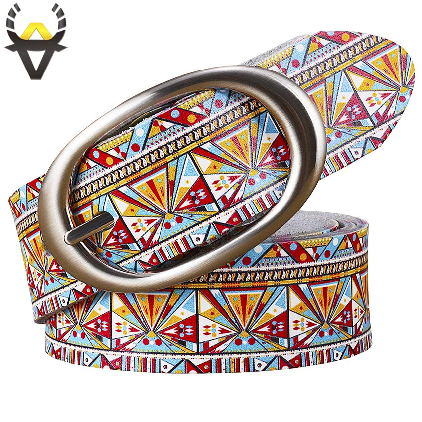 Fashion Genuine Leather Belts For Women Printing Geometric Belt Woman Quality Pin Buckle Cow Skin Strap Female Width 3.5 Cm