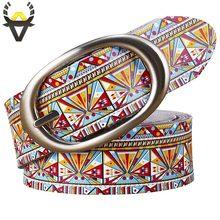 Fashion Echt Lederen Riemen Voor Vrouwen Printing Geometrische Riem Vrouw Kwaliteit Pin Gesp Koe Huid Riem Vrouwelijke Breedte 3.5 Cm