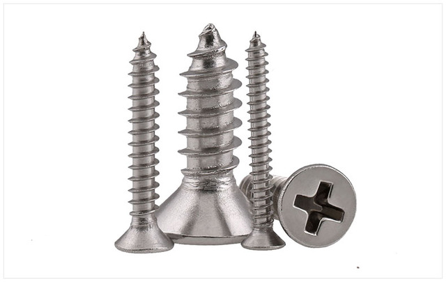 100PCS Stainless steel 316 M2 M2.2 M2.6 M3 countersunk head Cross Recessed Flat Head Screws Phillips Self-tapping Wood Screws